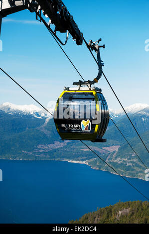 A Sea to Sky Gondola car pulls into the day lodge with Howe Sound in the background.  Squamish BC, Canada - Stock Photo