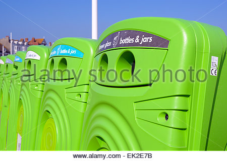 Recycling bins on the seafront, Weymouth, Dorset, England UK - Stock Photo