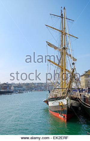 Tall ship the Pelican of London, Weymouth, Dorset, England UK - Stock Photo