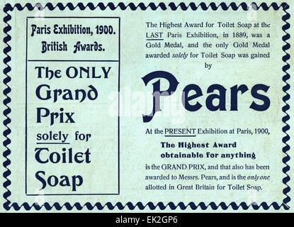 1900s Victorian advertisement magazine advert November 1900 Pears award winning toilet soap - Stock Photo