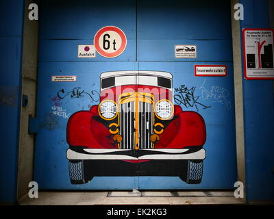 An Old Timer mural painting on Garage door - Stock Photo - Mural Painting On Garage Door Stock Photo: 11699888 - Alamy