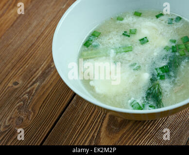 Sauer Suppe - Hot and sour soup of Bavarian cuisine - Stock Photo