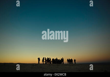 Group of tourists over Saint Vicent cliifs, Portugal - Stock Photo