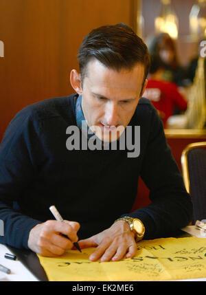 Bonn, Germany. 06th Apr, 2015. British actor Adam Brown, who plays Ori in Peter Jackson's three-part adaptation - Stock Photo