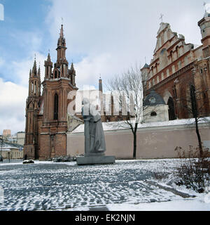 Lithuania. Monument to Adam Mickiewicz at St. Anne's Church in Vilnius. - Stock Photo