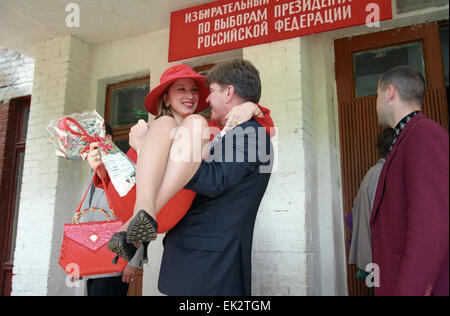Moscow region. Saltykovka village. Presidential candidate of the Russian Federation Vladimir Bryntsalov is pictured - Stock Photo