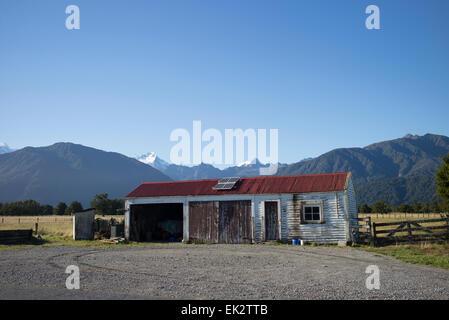 Barn at Fox Glacier, south island, New Zealand. - Stock Photo