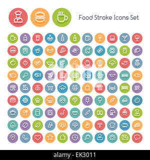 Set of Stroke Round Food Icons. Isolated on White Background. Clipping paths included in additional jpg format. - Stock Photo