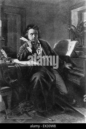 Vienna. Austria. German composer Ludwig van Beethoven. Reproduction. - Stock Photo