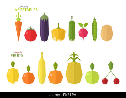 Vector set of low poly fruits and vegetables, isolated on white background - Stock Photo