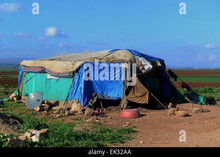 tent of homeless refugees from syria. 1.4.2015 Reyhanli, Turkey - Stock Photo