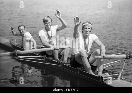 Moscow. USSR. The rowing competitions taking place in the Krylatskoe rowing channel. Winners of the competitions - Stock Photo