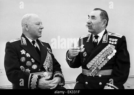 Moscow. USSR. Marshals of the USSR Kliment Voroshilov L and Semyon Budyonny. - Stock Photo