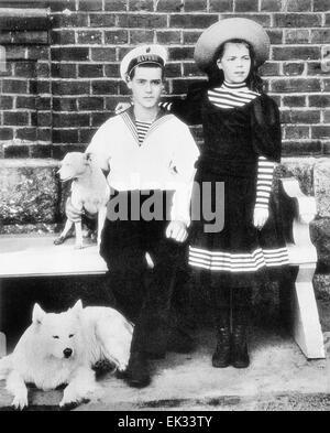 Grand Duke Michael Alexandrovich of Russia and Grand Duchess Olga Alexandrovna of Russia. - Stock Photo