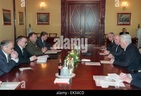 President Boris Yeltsin /right/ lashed out at the heads of power-wielding structures, opening an emergency meeting - Stock Photo