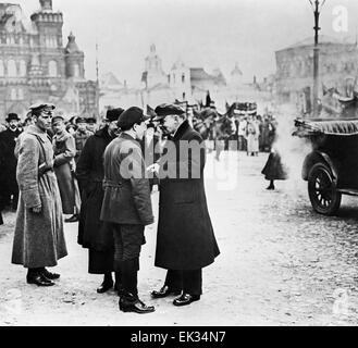 Moscow. Russian Republic. Vladimir Lenin c talking with Vladimir Zagorsky, First Secretary of the Moscow Communist - Stock Photo