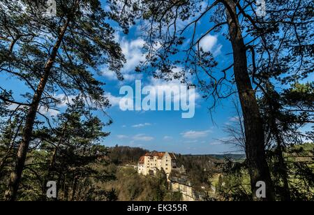 Raben, Germany. 28th Mar, 2015. Castle Rabenstein built in the High Middle Ages near Raben, Germany, 28 March 2015. - Stock Photo