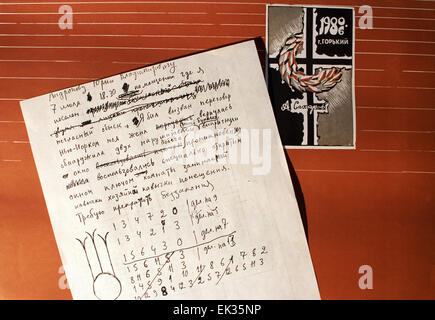 Nizhny Novgorod. Russia. Andrei Sakharov Museum. Draft of Andrei Sakharov's telegram sent to Yuri Andropov, chairman - Stock Photo