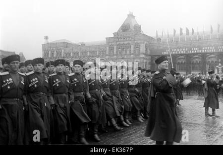 ITAR-TASS: USSR, MOSCOW. Cossacks are marching in Victory Parade on 24 June 1945, held in Red Square. - Stock Photo