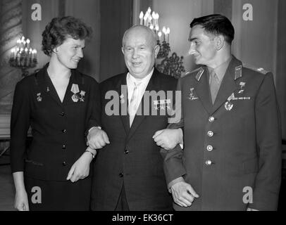 Moscow. USSR. General Secretary of the Communist Party of the Soviet Union Nikita Khrushchev C with soviet cosmonauts - Stock Photo