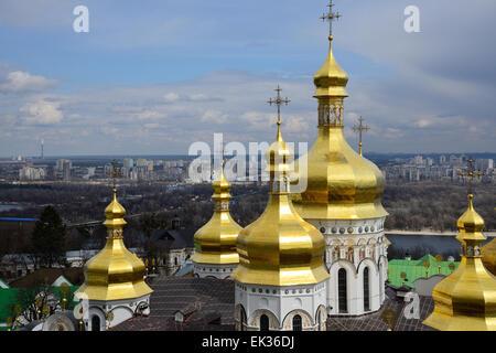 golden domes of the Kiev-Pechersk Lavra church - Stock Photo