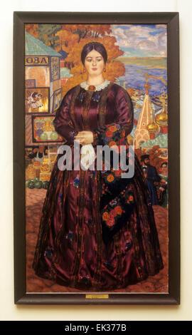ITAR-TASS: USSR, LENINGRAD. The painting 'Merchant's wife' 1918 by Boris Kustodiyev at the State Russian Museum. - Stock Photo