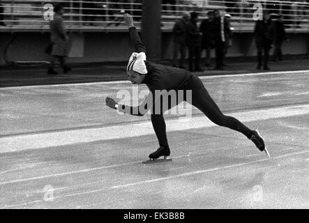 France. Grenoble. 10th Winter Olympics. Olympic champion in speed skating at a 500-meter distance Lyudmila Titova - Stock Photo