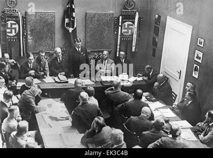 The National Socialist German Workers' Party NSDAP Presidium's meeting. On the platform are: Adolf Hitler background - Stock Photo