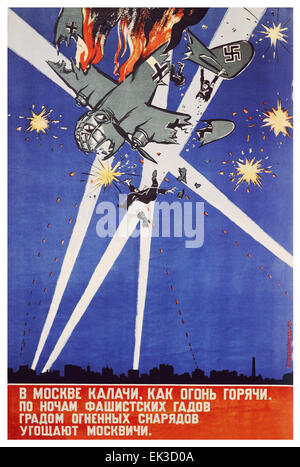USSR. The Moscow kalatch is not of their batch, a Soviet propaganda poster by the Kukryniksy. - Stock Photo