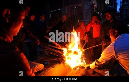 Kathmandu, Nepal. 6th Apr, 2015. Demonstrators attend a torch rally on the eve of a three-day general strike called - Stock Photo