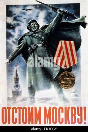 USSR. A soviet propaganda poster with a slogan: 'Stand Up for Moscow!' by Nikolai Zhukov and Viktor Klimashin. - Stock Photo