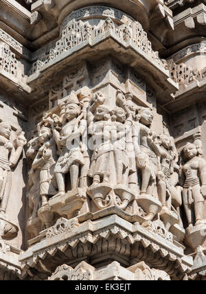 Close-up of Stone Carvings at Jagdish Temple, Udaipur, Rajasthan, India - Stock Photo