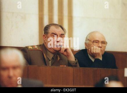 Moscow. Minister of defense of the USSR Dmitry Yazov and chairman of the KGB Vladimir Kryuchkov are pictured at - Stock Photo