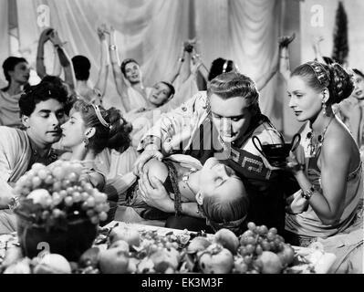 Italo Tajo, Nelly Corradi, Gino Mattera, on-set of the Film 'Faust and the Devil' (aka La Leggenda di Faust', 1950 - Stock Photo