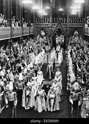 Queen Elizabeth II,  on her Coronation Day, June 2, 1952 - Stock Photo