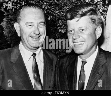 U.S. Senators John F. Kennedy and Lyndon B. Johnson, after announcing Johnson's Vice Presidential Place on Ticket, - Stock Photo