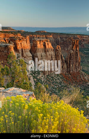 Sandstone monuments, formations, 'Kissing Couple'  from Monument Canyon View, Colorado National Monument, Grand - Stock Photo