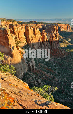 Sandstone monuments and formations from Monument Canyon View, Colorado National Monument, Grand Junction, Colorado - Stock Photo