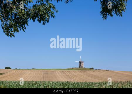 Windmill, Moulin de Moidrey near abbey Mont Saint Michel, Pontorson, Normandy, France, Europe - Stock Photo