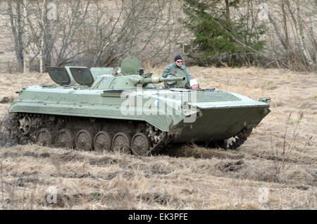 A Russian made army tank BMP1 on a fundrive usage. This tank was created early 70´s, and was in production until - Stock Photo