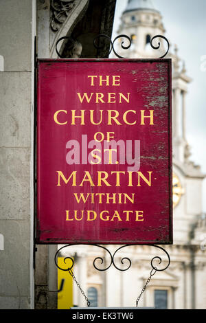 St Martin within Ludgate Church, Ludgate Hill, London, Britain - Stock Photo
