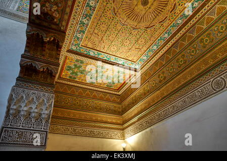 Painted wooden ceiling at Bahia Palace, Marrakech, Morocco, Africa - Stock Photo