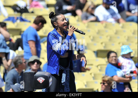 Los Angeles, CA, USA. 6th Apr, 2015. Singing Artist Tawnishe performs before the Major League Baseball game Home - Stock Photo