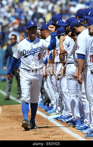 Los Angeles, CA, USA. 6th Apr, 2015. Los Angeles Dodgers manager Don Mattingly #8 before the Major League Baseball - Stock Photo