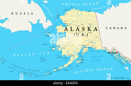 America state anchorage alaska map atlas map of the world us state alaska political map with capital juneau national borders important cities rivers gumiabroncs Gallery