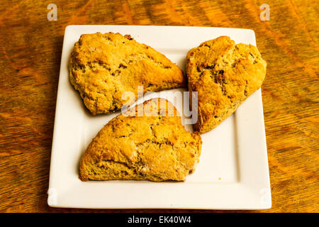 Freshly baked cinnamon and raisin scones on a white square plate - Stock Photo