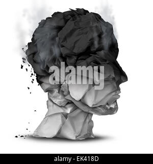 Burnout overworked concept and work stress symbol for a psychological emotional disorder diagnosis as a human head - Stock Photo