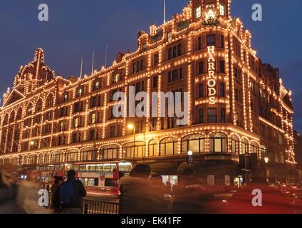 Harrods Department Store at Night, Brompton Road, Knightsbridge, Royal Borough of Kensington and Chelsea, London, - Stock Photo