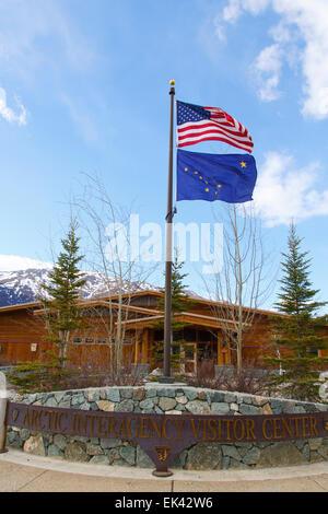 The Arctic Interagency Visitor Center at Coldfoot, Dalton Highway, Alaska. - Stock Photo