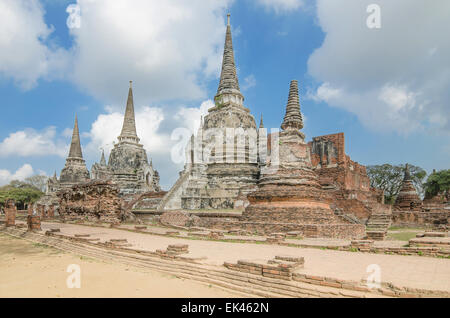 Old Temple Architecture , Wat Phra si sanphet at Ayutthaya, Thailand, World Heritage Site - Stock Photo